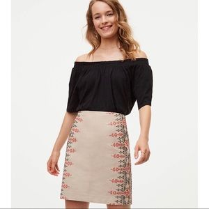 LOFT Embroidered Cotton Linen Skirt